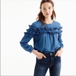 J Crew womens Tiered Chambray Ruffled Blouse 4